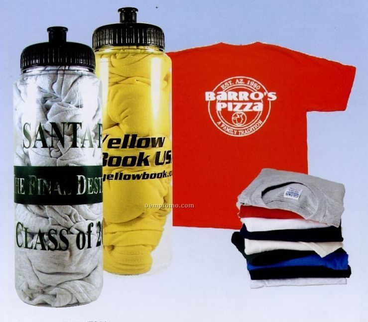 32 Oz. Crystal Clear Sport Bottle Stuffed W/T-shirt