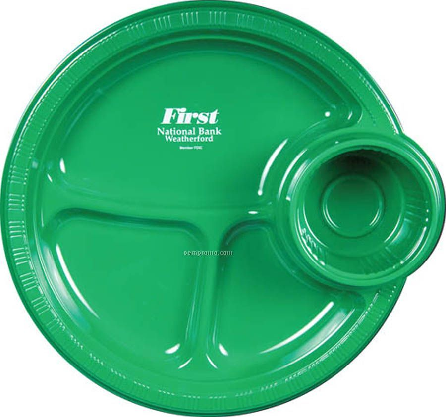 10.5\  Plastic Party Plates (3 Compartment With Cup Holder)  sc 1 st  Oempromo.com & 10.5\