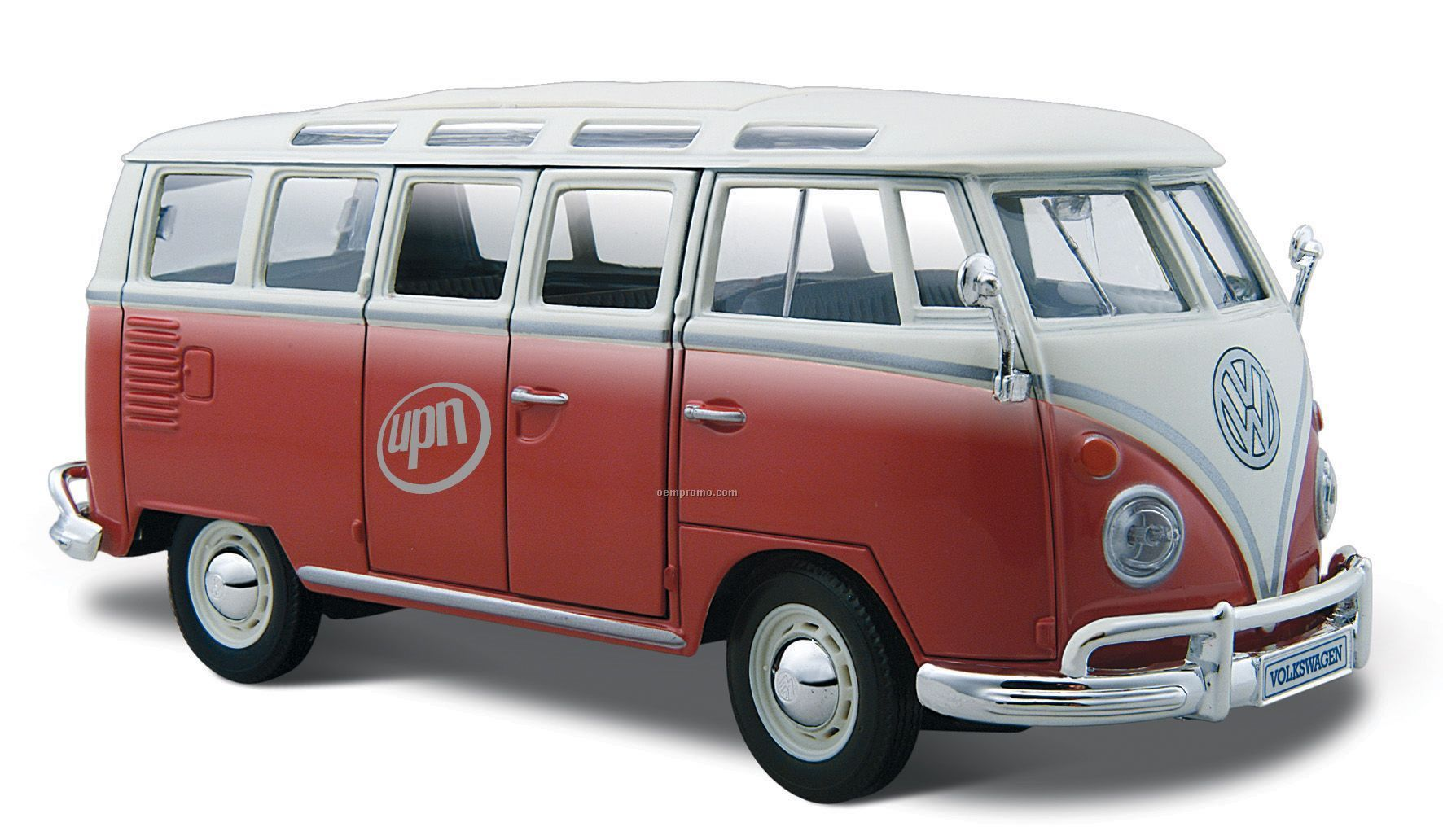 7 x2 1 2 x3 red white vw samba bus die cast replica car. Black Bedroom Furniture Sets. Home Design Ideas