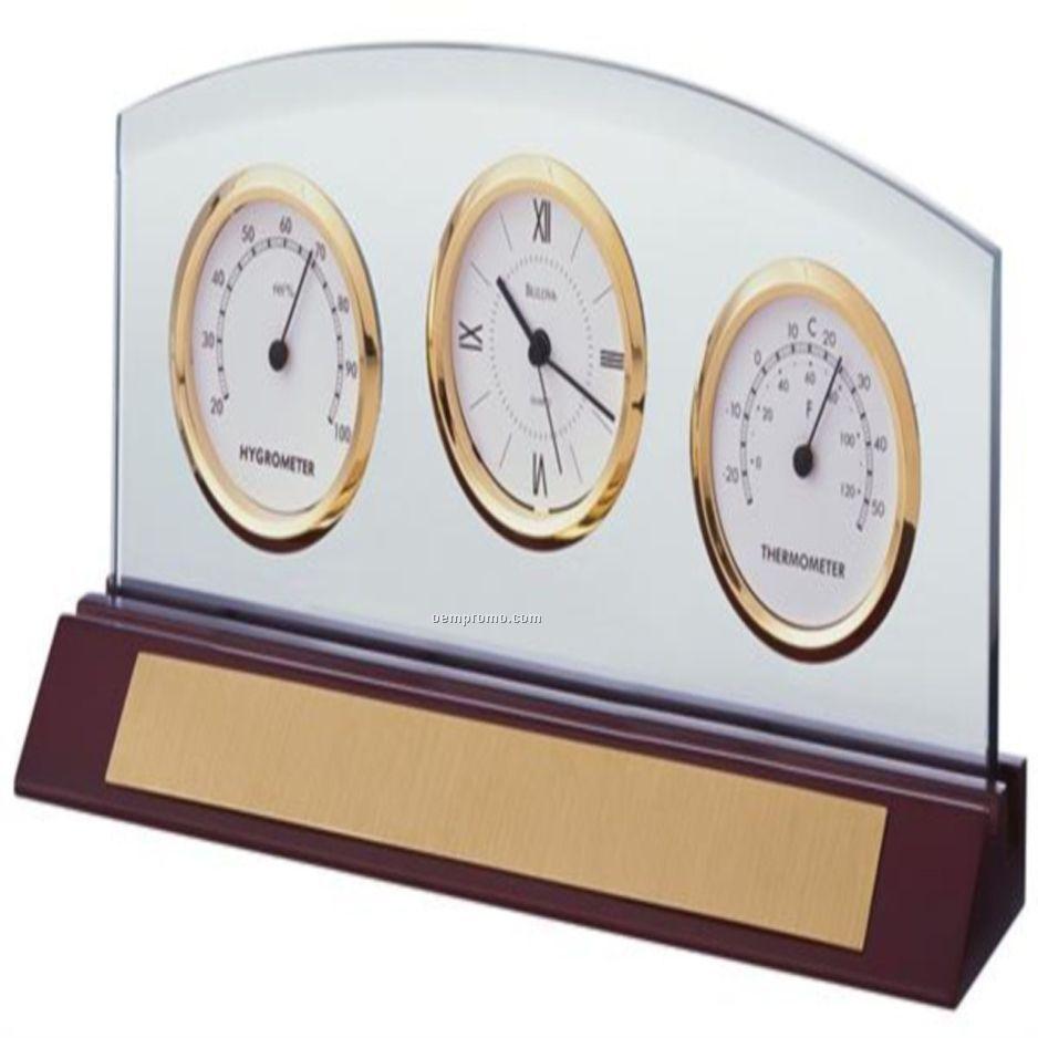 Bulova Desk Clock W Thermometer Amp Hygrometer China