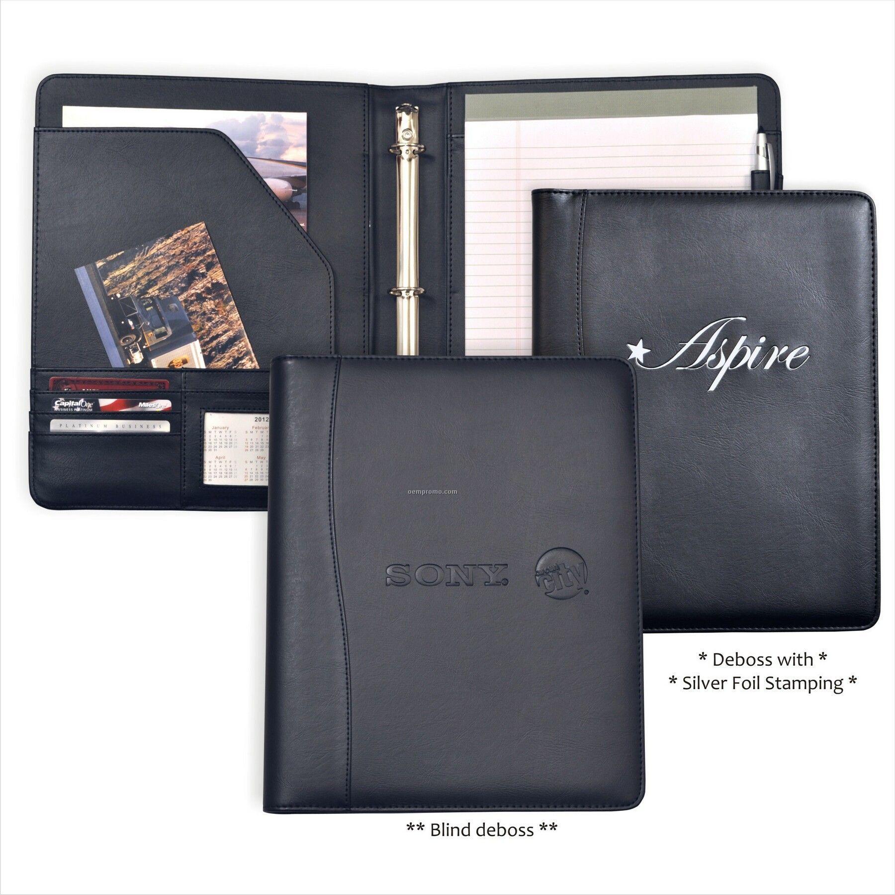 "Letter Size Pad Folder Padfolio, 1"" 3 Ring Binder/Soft"