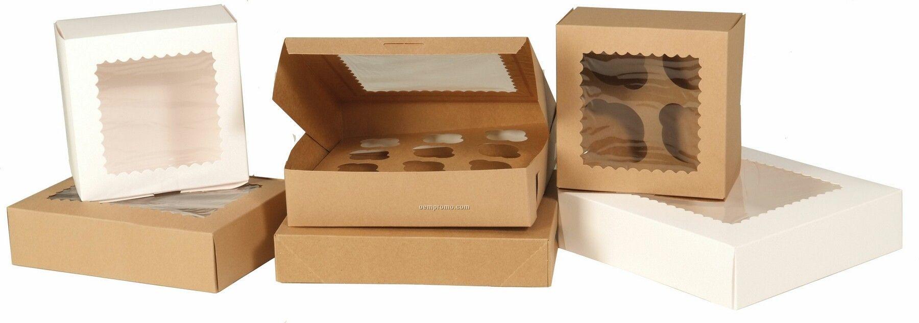 Kraft Window Cupcake Boxes W 6 Mini Cupcake Capacity