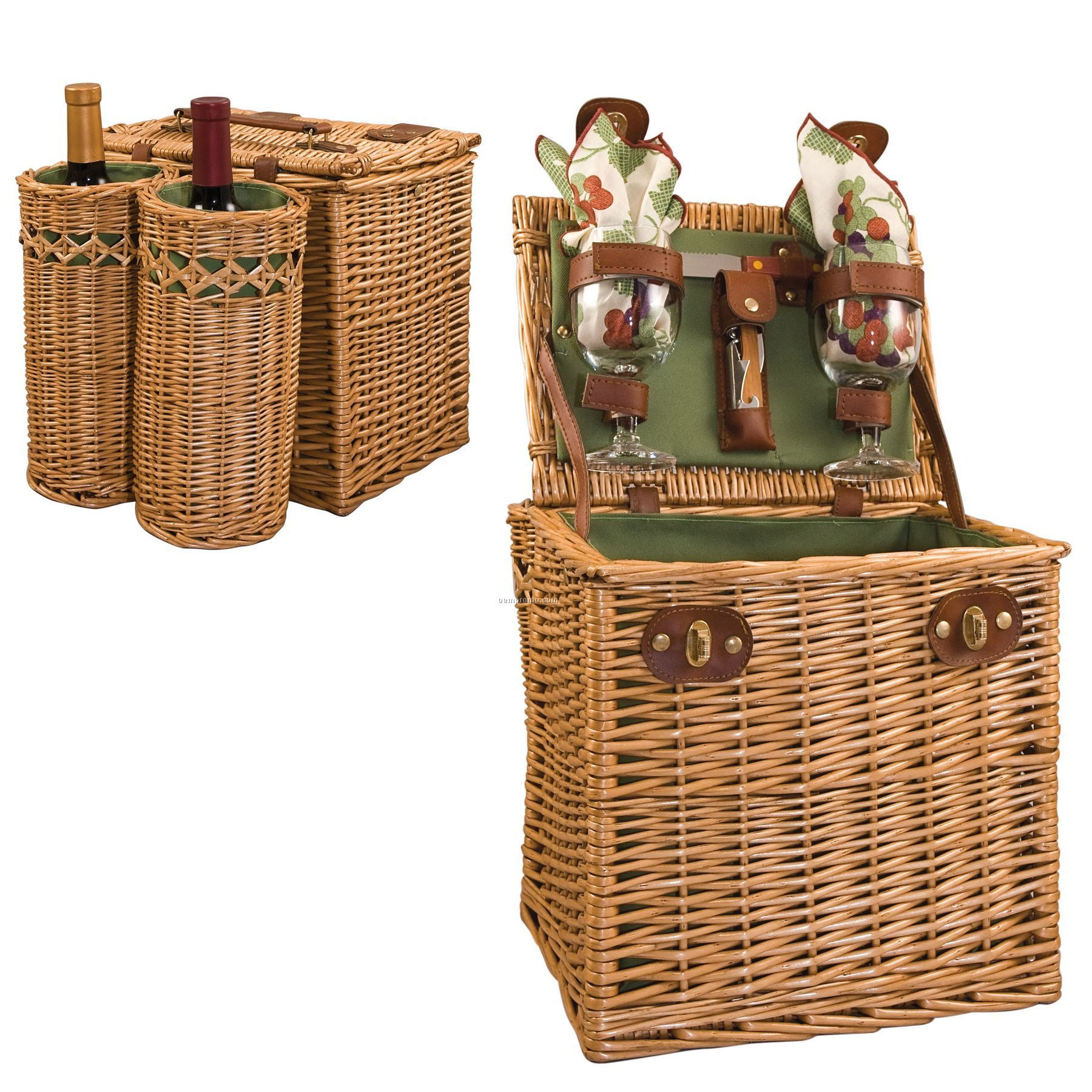 Picnic Basket Backpack Two : Vino quot basket w exterior wine compartments grape