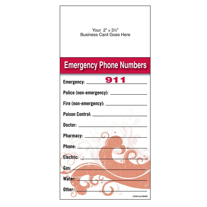 "Self-adhesive Add-on Magnet + Info Card ""Emergency Phone Numbers"",China Wholesale Self-adhesive"