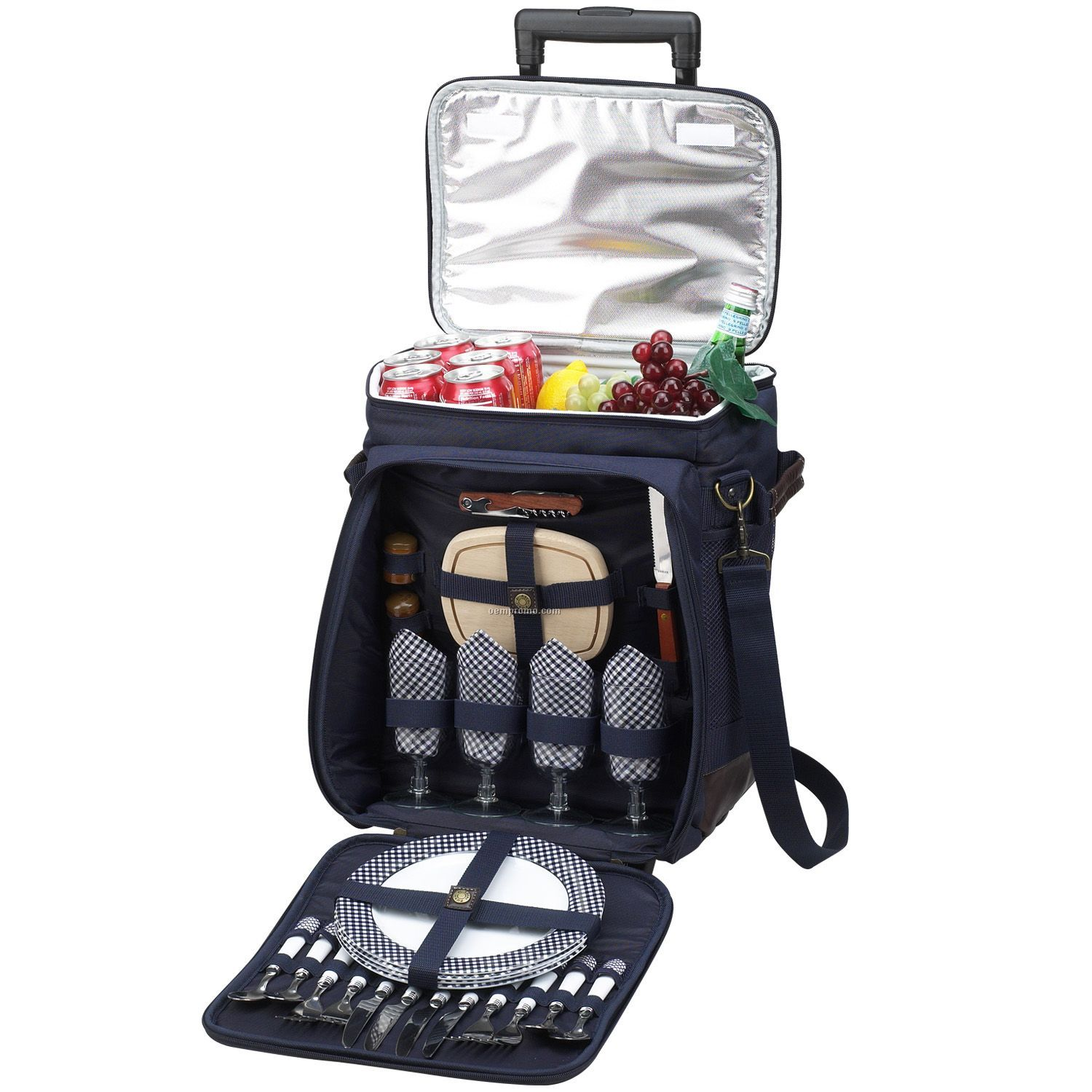 Collapsible Insulated Picnic Basket For 4 : Collapsible picnic cooler on wheels for four china