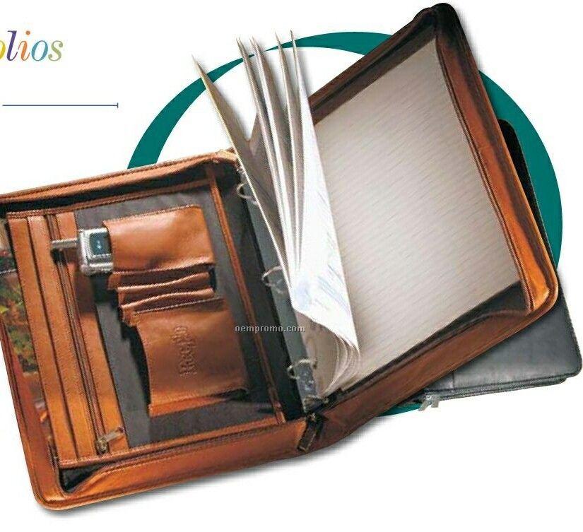 Leather 3 Ring Portfolio - چرم